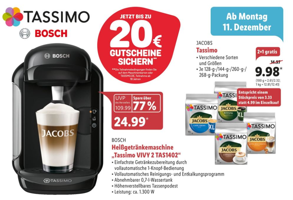 tassimo angebot lidl zuschlagen erlaubt. Black Bedroom Furniture Sets. Home Design Ideas